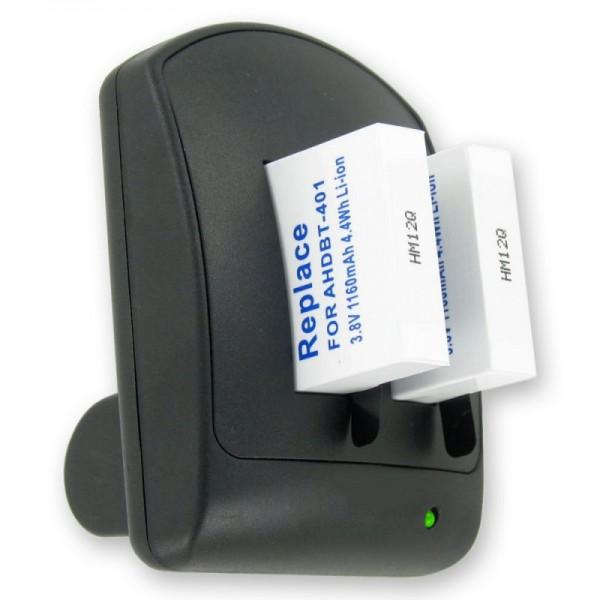Zweifach Ladegerät für GoPro Hero 4 Akku AHDBT-401 inklusive 2 Akkus