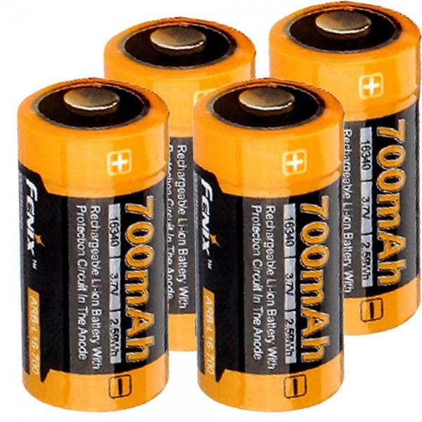4x CR123 A Li-ion Akku mit 3,7 Volt, min. 700mAh, typisch 760mAh, max. 820mAh Kapazität inkl. AkkuBox ideal für Überwachungskamera Arlo, LED-Taschenlampen