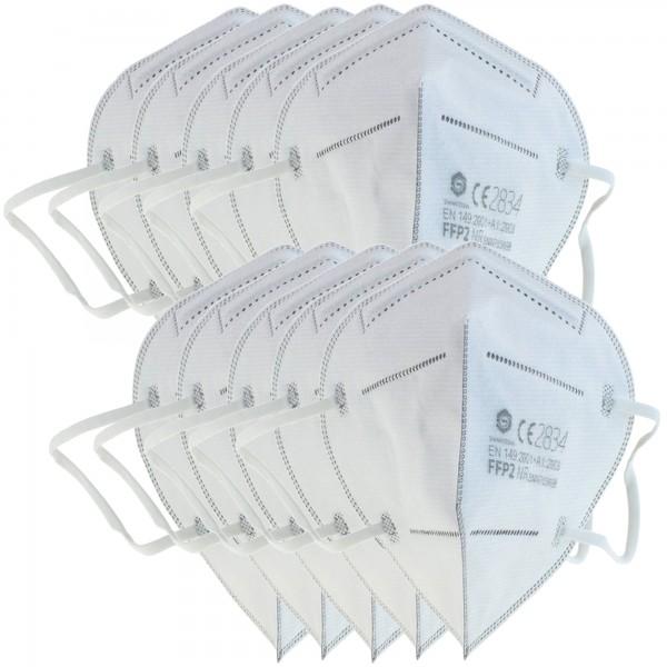 10 Stück FFP2 Maske 5-Lagig ohne Ventil, Wochenration, zertifiziert nach DIN EN149:2001+A1:2009, partikelfiltrierende Halbmaske, FFP2 Schutzmaske