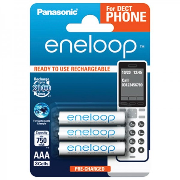 Panasonic eneloop Phone Standard Micro Akku 3er Blister DECT BK4MCCE/3DE NiMH 1,2V / 800 mAh