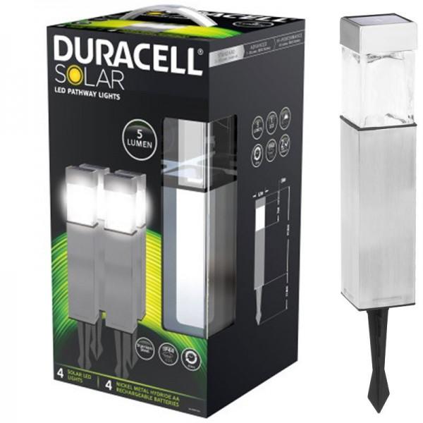 4er Set Duracell LED Solar-Wegeleuchte mit bis zu 5 Lumen, rostfreier Edelstahl, mit Standard NiMH Akku