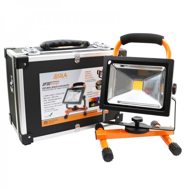 LED Akku-Arbeitsscheinwerfer im Koffer mit Farbfilter, mit Magnet, mit Haltegurt, bis zu 1800Lumen