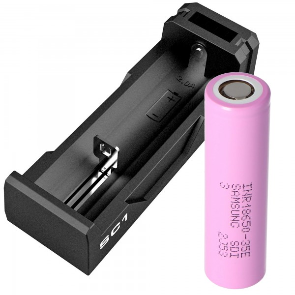 Akku und Ladegerät passend für das Pard Nachtsicht-Nachsatzgerät NV007A Li-ion-Akku 18650 mit 3,7 Volt 3500mAh