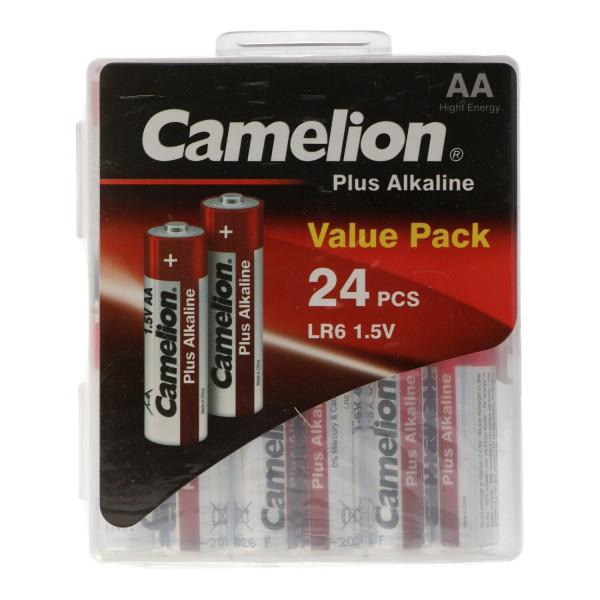 24 Stück mit Batteriebox Plus Alkaline LR6 AA Mignon Batterie 1,5 Volt max. 2700mAh bis 0,8V bei 25mA Dauerbelastung