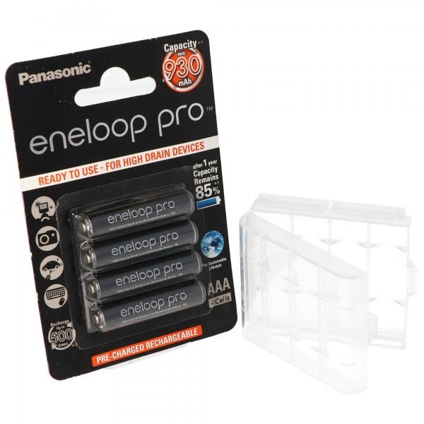 Panasonic eneloop Pro Micro Akku AAA NiMH 1,2V, 900mAh HR-4UWX 4er + Box