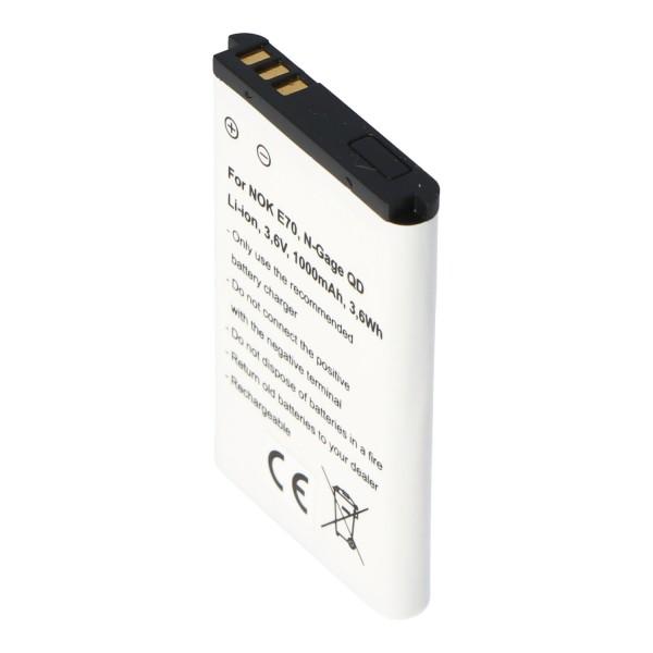 AccuCell Akku passend für Nokia E70, N-Gage QD, Nokia BL-6C Akku 1000mAh