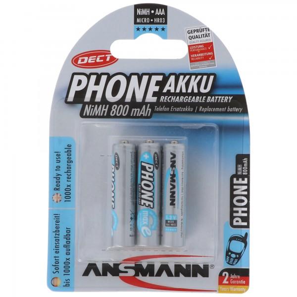 Telefon Akku AAA NiMH 800mAh ideal für schnurlose DECT Telefon