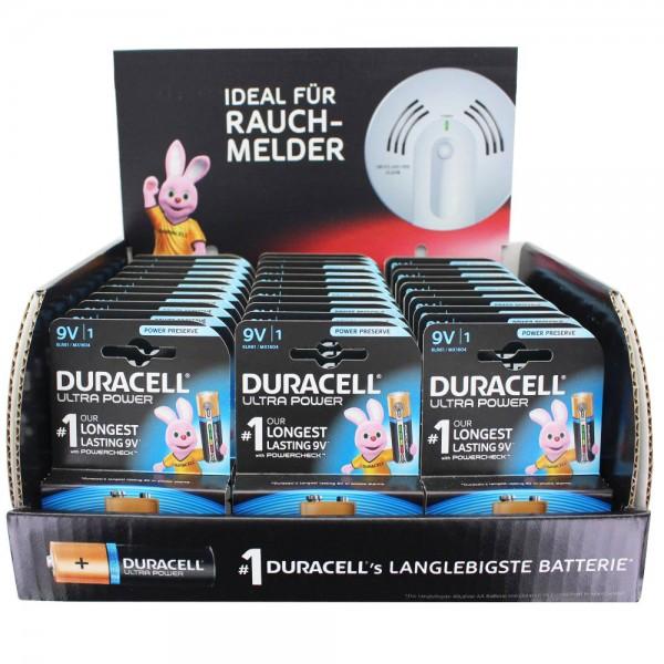 33 Stück Ultra Power Alkaline 9V Batterien ideal für Rauchmelder, Rauchwarnmelder und AccuCell EnergyTest