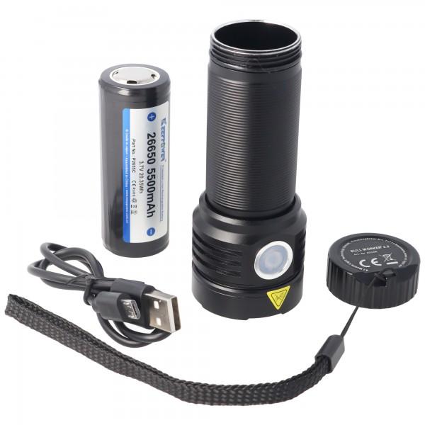 Bullworker die ultrahelle LED-Taschenlampe mit Osram LED, 5200mAh Akku, max. 3300 Lumen inklusive Akku