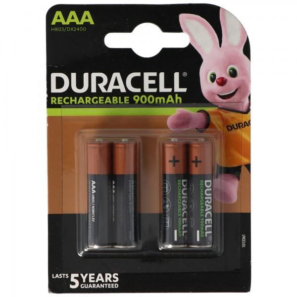 Duracell Recharge Ultra AAA Akku NiMH Micro mit bis zu 850mAh bis 900mAh Kapazität, 4er