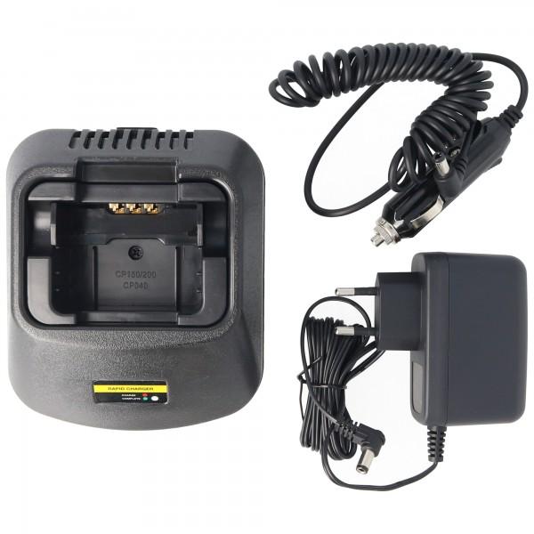 Schnell-Ladegerät passend für den Motorola Akku CP040, 080, 140, 150, 160, 180, 200, EP450, GP3188, 3688, PR400