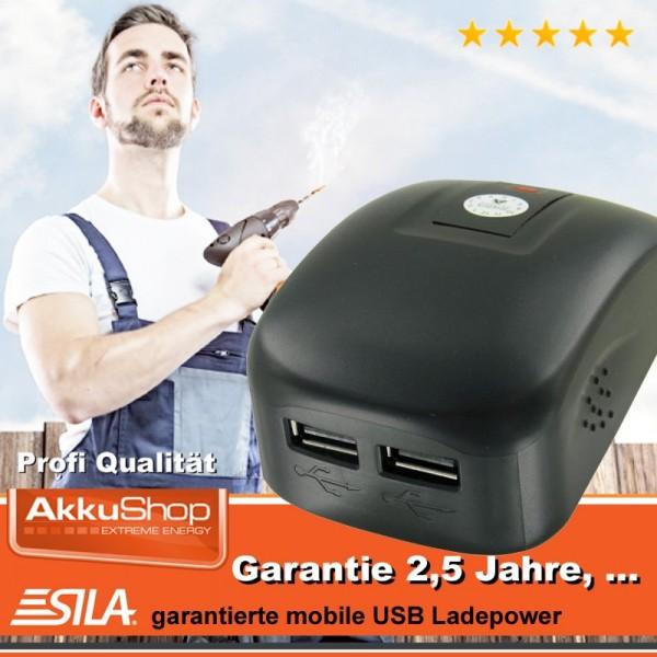 SILA USB-Powertool-Adapter 2fach passend für Dewalt DCB120, DCB121