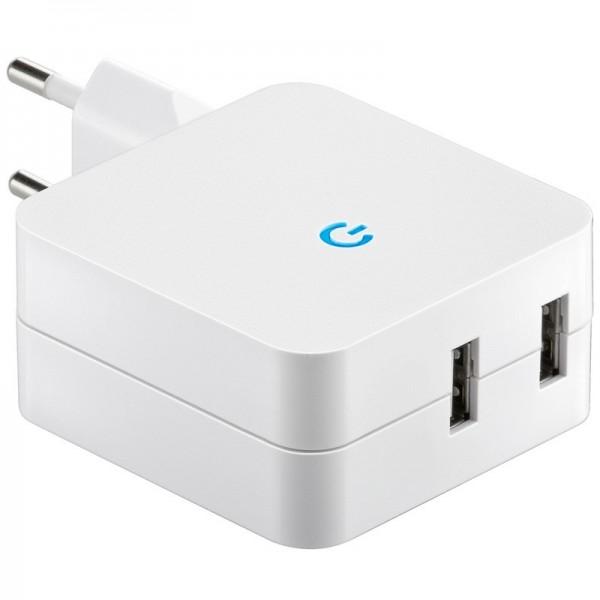 USB Ladeadapter von 230 Volt Steckdose auf USB, 2x USB Ausgang max. Ladestrom 4,2A