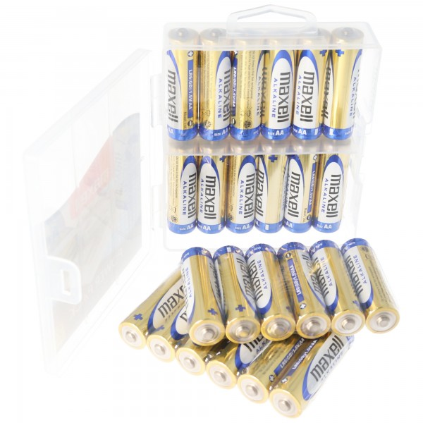 Maxell LR6 AA 24er Sparpack Mignon Batterien inklusive Aufbewahrungsbox LR06 Batteriesparpack