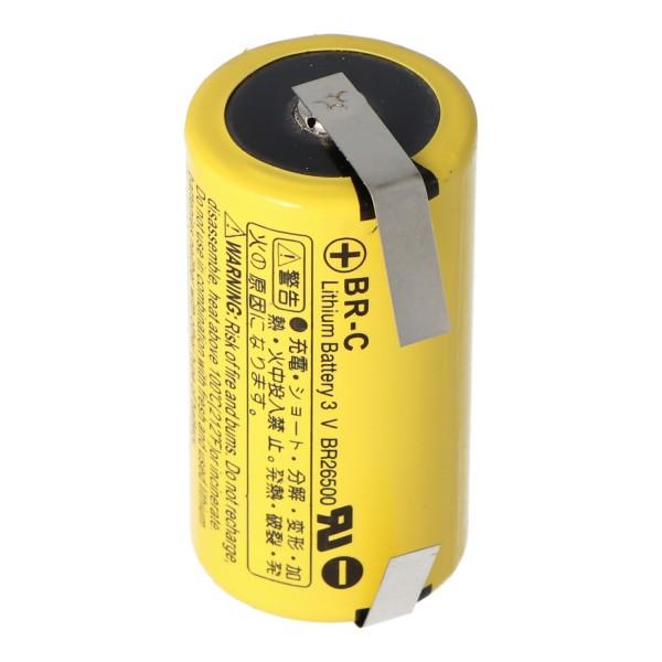 BR-C Panasonic Lithium Batterie Baby mit Lötfahnen in U-Form zum anlöten, BR26500