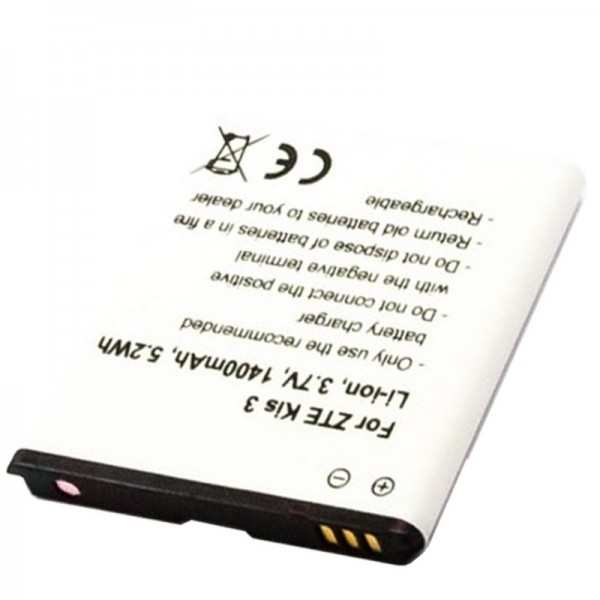 Akku passend für den ZTE Kis 3 Akku KIS3 Plus 3,7 Volt mit 1400mAh, 5,2Wh, Li3714T42p3h504857-H