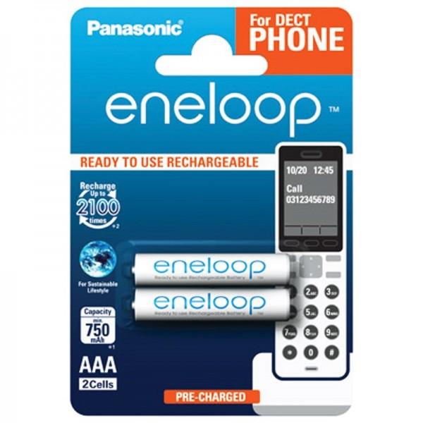 Panasonic eneloop Phone Standard Micro Akku 2er Blister DECT BK4MCCE/2DE NiMH 1,2V / 800 mAh