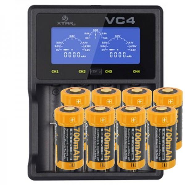 CR123 A Li-ion Akku mit 3,7 Volt, 760mAh 8 Stück und LCD-Schnell-Ladegerät
