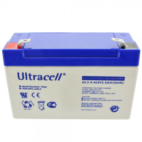 Ultracell UL3.5-4 4 Volt Akku 3500mAh, passend für Sonnenschein A504/3.5S, 4,8mm Kontakte