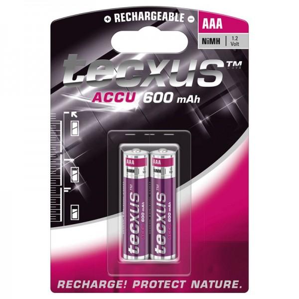 Tecxus NiMH Akku Micro, AAA, LR03 mit 600mAh im 2er Blister